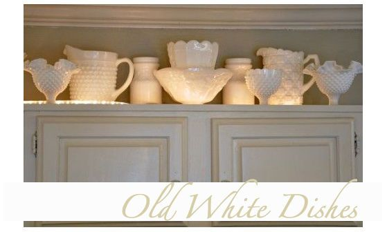 Milk Glass Above Cabinet Decorations | Crafty Mally ❤