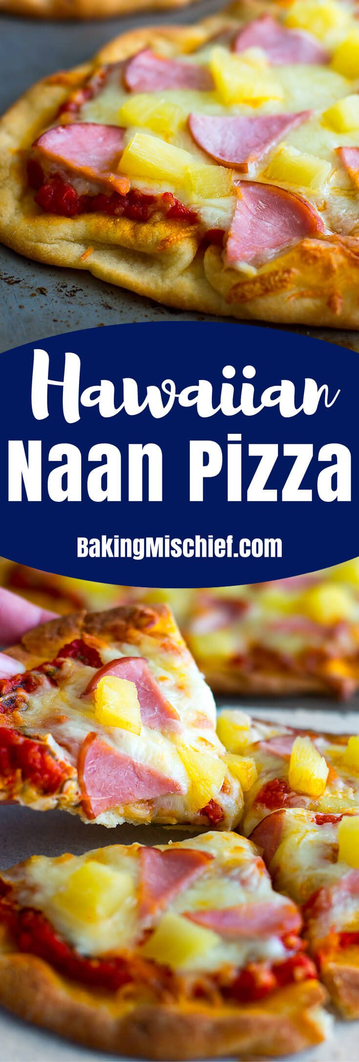 Hawaiian Naan Pizza makes a deliciously easy dinner that's cheaper, faster, and healthier than delivery! From BakingMischief.com | Homemade Pizza | Dinner for Two |