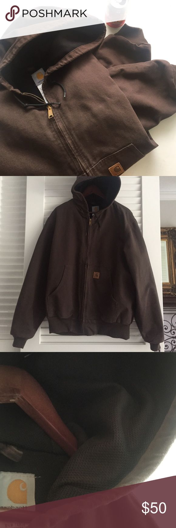 Carhartt Active Jacket Thick canvas material // black mesh lining throughout interior for breathable insulation // bronze zipper // EUC Carhartt Jackets & Coats