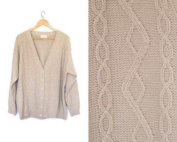 Vintage oatmeal cardigan sweater. Button up. by LiveToLiveVintage