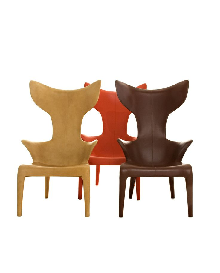 Lou Read by Philippe Starck Armchair Polyurethane Baydur® structure, internal steel reinforcement. full grain leather cover available in natural, orange and brown color.