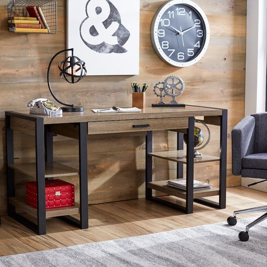 Features:  -Finish: Ash gray/black .  -Assembly required.  -Drawer fold down for keyboard: Yes.  Desk Type: -Computer desk.  Top Finish: -Gray.  Base Finish: -Black.  Accent Finish: -Black.  Top Mater