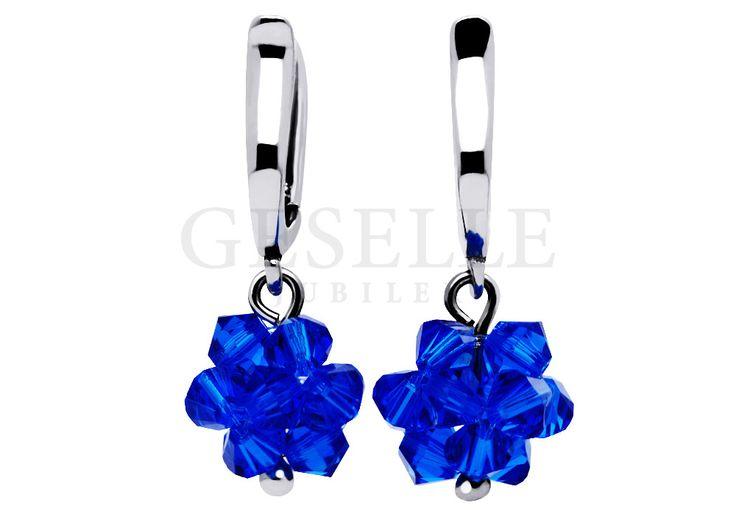 Wiszące kolczyki ze srebra próby 925 z szafirowymi kryształami Swarovski Elements w kształcie kwiatów