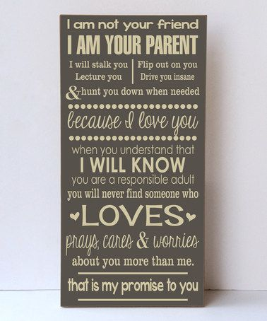 This Dark Sparrow & Cream 'Parent' Wall Sign is perfect! #zulilyfinds