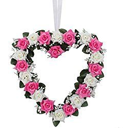 Yiwa Heart-Shaped Rose Door Wall Hanging Wreaths Wedding Festival Valentine's Day Decoration (Pink and White) 1PCS