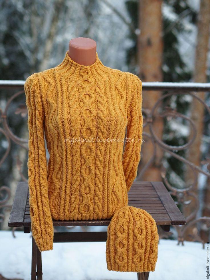 Купить Желтый свитер из мериносовой шерсти - желтый, свитер, свитер вязаный, свитер с шапочкой