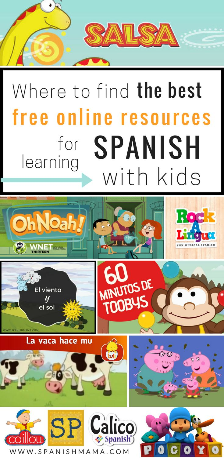 Free Online Resources for Learning Spanish with Kids. Websites, games, online activities, stories, and more, for language learners. Great resource for Spanish teachers, or for parents at home.