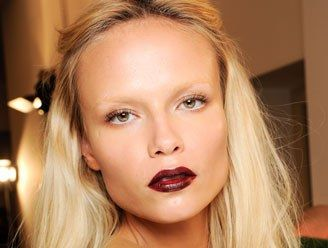 Winter 2013 make up trend: dark red lips paired with minimal make up.