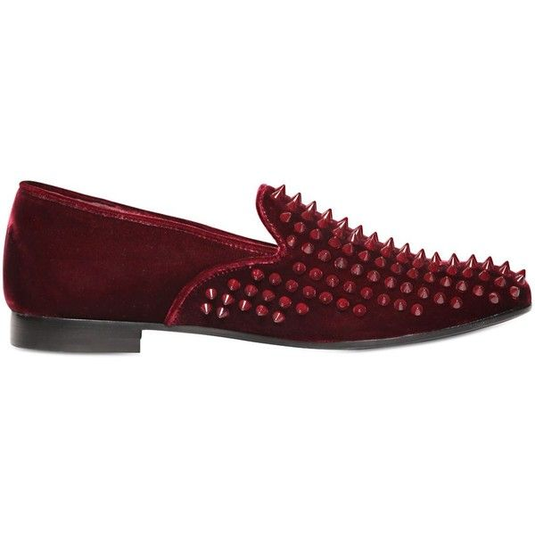 Giacomorelli Men Studded Velvet Loafers ($510) ❤ liked on Polyvore featuring men's fashion, men's shoes, men's loafers, bordeaux, mens studded loafers, mens leather sole shoes, mens velvet shoes, mens loafers and mens shoes