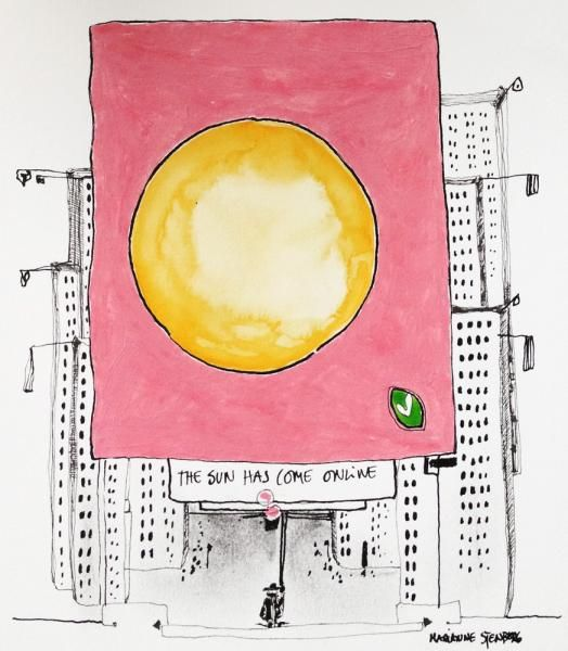 www.artunika.dk / www.artunika.com Sunscaping - 20 x 20. En original kunst tegning af kunstner Marianne Stenberg. Tegningen kommer ikke indrammet.  Kunstner Marianne Stenberg arbejder primært på papir, hvorpå hun skaber tusch-tegninger med kalligrafi-pen og er kendt for hendes store tegnin...