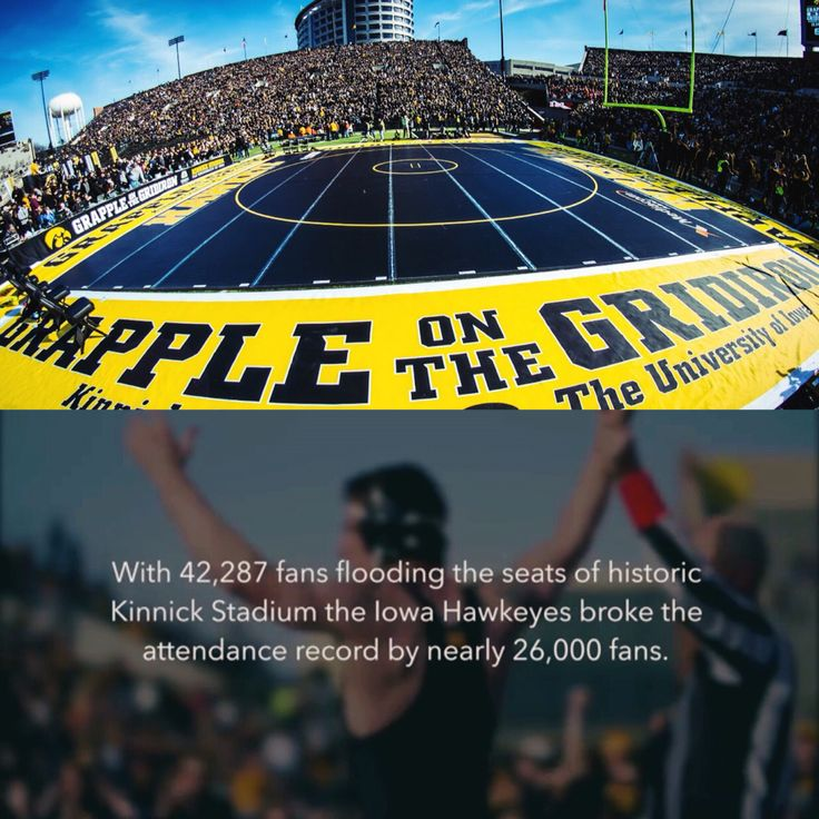 """Wrestling in America - over 42.000 (!) fans at """"Grapple on the Gridiron"""" watching Iowa Hawkeyes against Oklahoma State"""