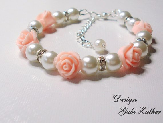 Flower Girl Bracelet, Little Girls Wedding Jewelry, Sparkling White Pearl  and Pink Rose Flower