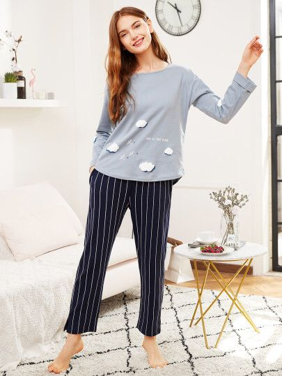 4f5d9d9d05d6 Cloud Print Tee   Striped Pants PJ Set Only QR.73.00