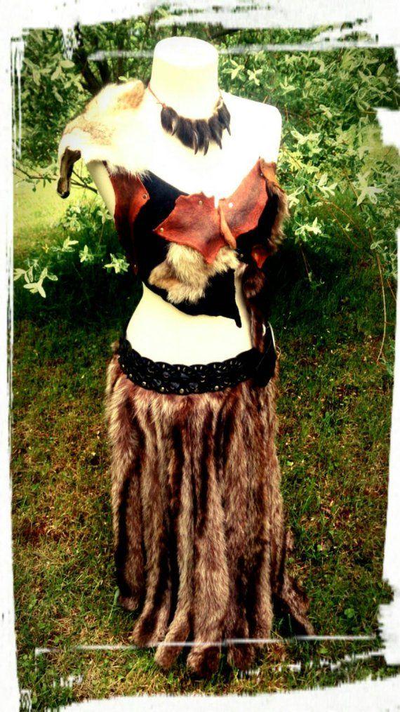 Long Fur Skirt Real Rabbit Fur Skirt Larp Costume Burning Man Tribal Skirt Cosplay skirt