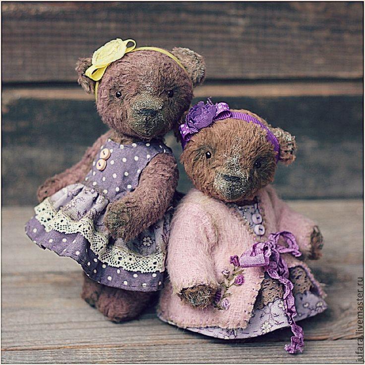 Купить Teddy bear Little sisters - мишки, мишка-тедди, девочки, сестренки, коричневый, филетовый