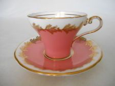 Aynsley Pink/Salmon & Gold CUP & SAUCER #1788