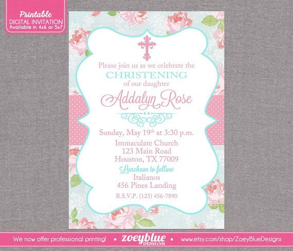 Shabby Chic Baptism Invitation Girl Floral by ZoeyBlueDesigns