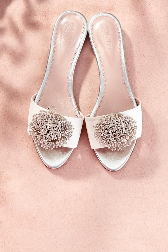 eceb64201 Coco Slider Wedding Shoe Suede and Silver with Swarovski Created by Emmy  London Jude Silver -