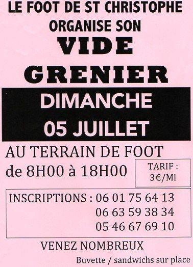 Vide-grenier 5 juillet 2015 Saint Christophe Charente Maritime