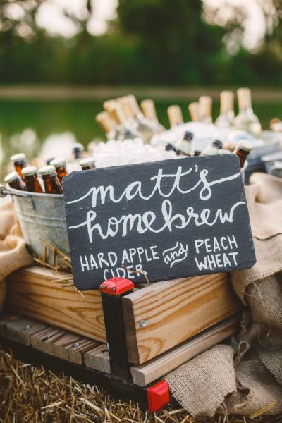 Brew your own beer for your wedding day. Check. http://www.stylemepretty.com/2014/09/19/fun-ways-to-infuse-fall-fruit-into-your-wedding/