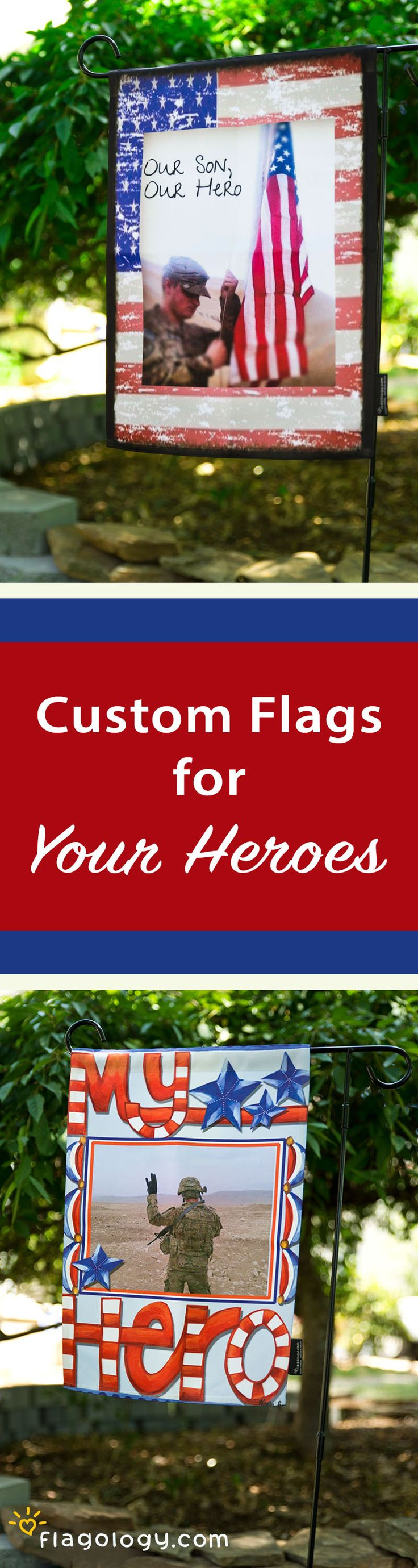 Your hero is protecting our freedom: celebrate them by flying your pride! Create a custom flag for a military homecoming, to support your serviceman, and show your patriotic spirit. Personalize a flag design with your photo in minutes online. High quality, double sided flags starting at $27.99