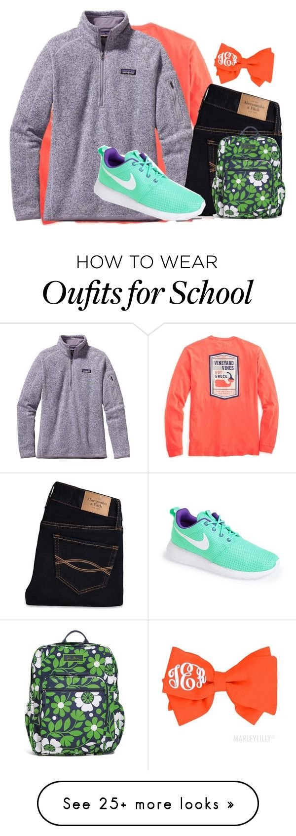 """""""School day tomorrow """" by margaretinmotion on Polyvore featuring Patagonia, Abercrombie & Fitch, Vera Bradley and NIKE"""