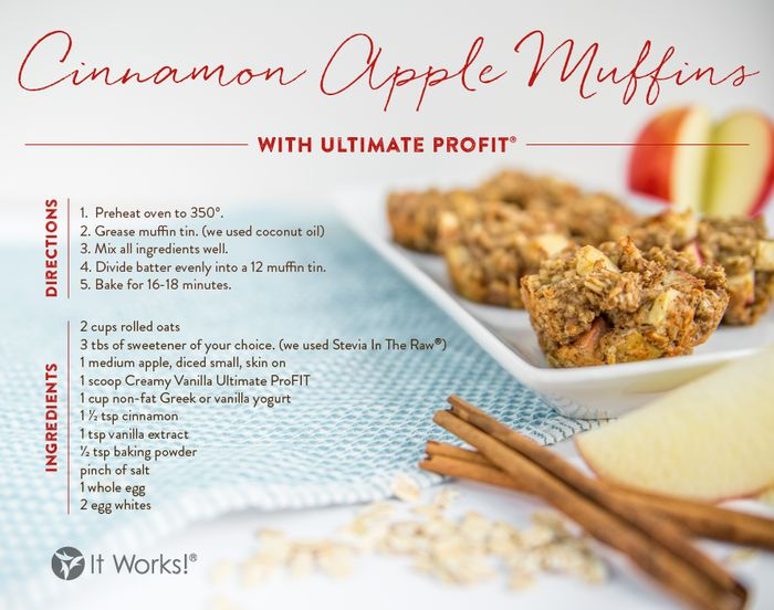 A cinnamon apple muffin a day helps you get your protein the tasty way! For more It Works! ProFIT recipes visit our website: http://www.theultimatecrazywrap.com/profit-recipes.html