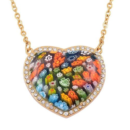 Designer Inspired-Lapis Lazuli, Murano Glass and White Austrian Crystal Reversible Heart Necklace (Size 20) in ION Plated Yellow Stainless Steel