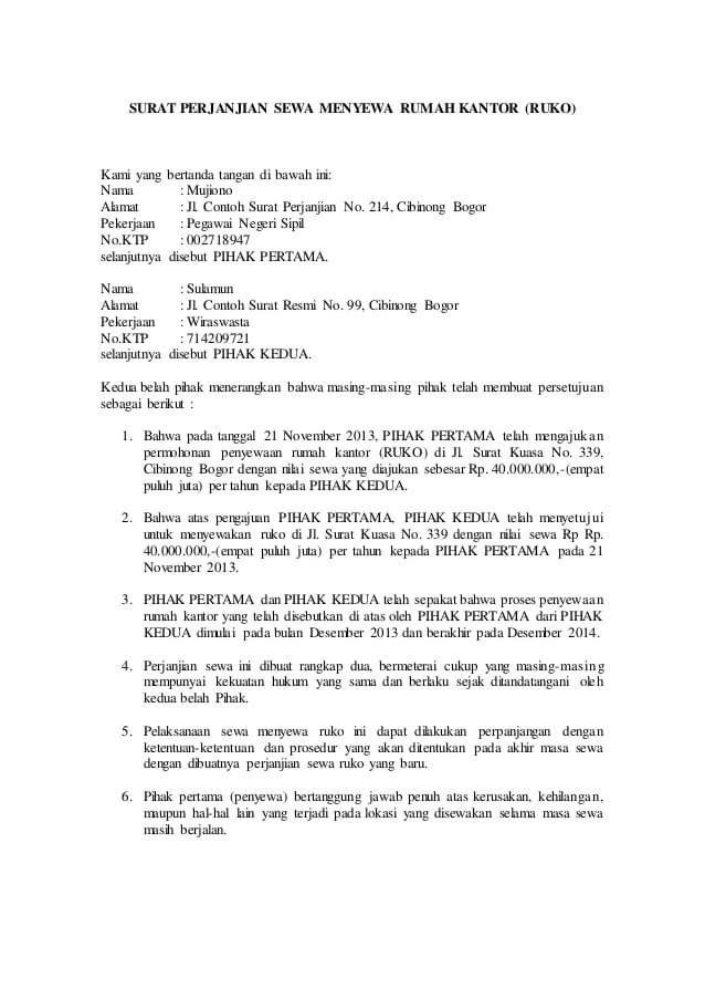 Contoh Surat Kontrak Sewa Rumah Dengan Materai 6000 Yang Benar Surat Membaca Penyewaan