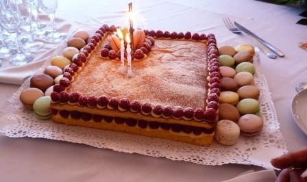 Raspberry birthday cake