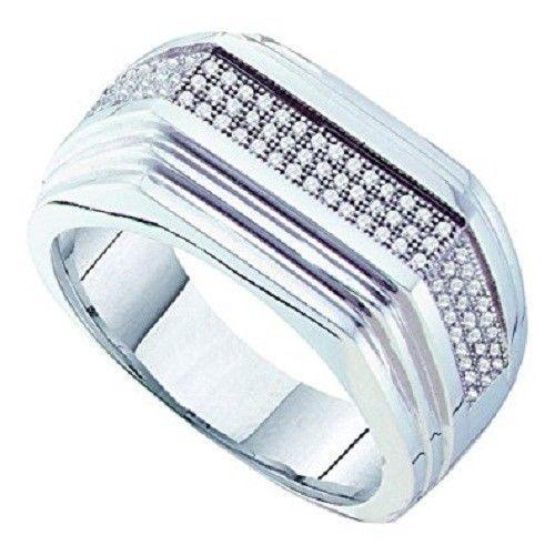 MENS.925 WHITE GOLD FINISH WHITE ROUND DIAMOND PAVE FASHION PINKY RING 1.3/4 CT #br925silverczjewelry #MensWeddingBandRing