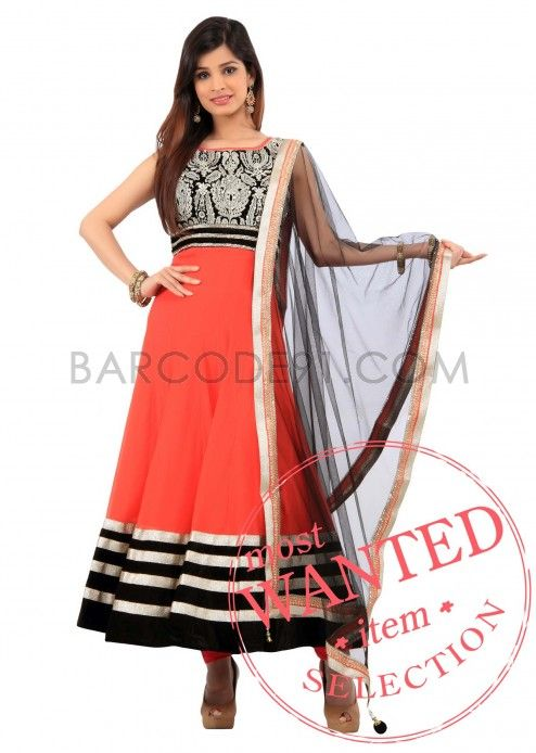 Orange chiffon anarkali suit with embroidered yoke by B91 Exclusive