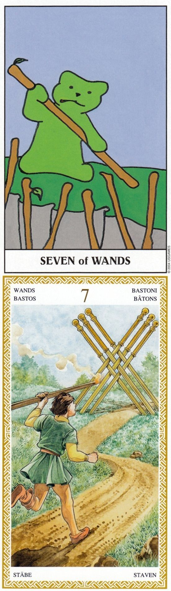 Seven of Wands: defensive and feeling overwhelmed (reverse). Gummy Tarot deck and Loscarabeo Tarot deck: free tarot reading divination, one card love tarot and biddytarotultimate guide. Best 2017 halloween costumes and predictions of next war.
