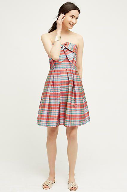 Ribboned Plaid Dress