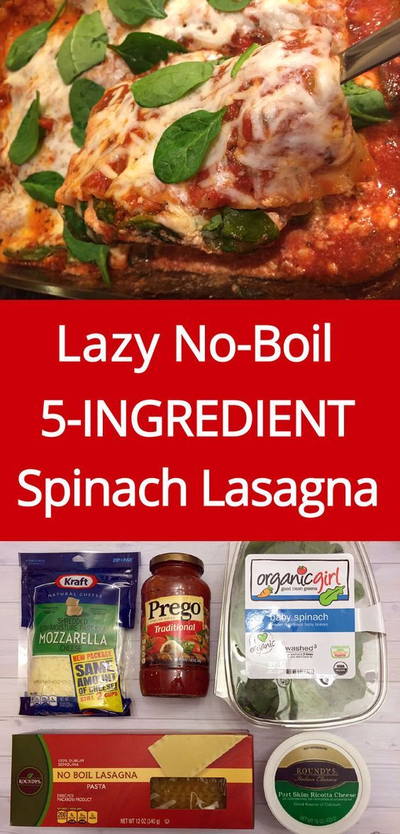 Easy 5-Ingredient No-Boil Spinach Vegetarian Lasagna Recipe | MelanieCooks.com                                                                                                                                                                                 More