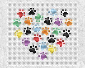 Animal paws cross stitch pattern modern dog and cat design