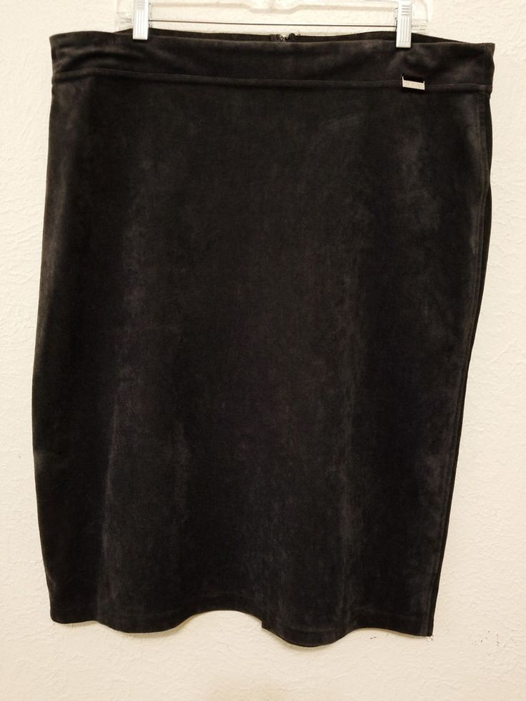 Calvin Klein-  Women's Skirt - Size XL - Black Faux Suede Stretch Dress Straight Skirt #CalvinKlein #StraightPencil ..... Visit all of our online locations.....  www.stores.eBay.com/variety-on-a-budget .....  www.amazon.com/shops/Variety-on-a-Budget .....  www.etsy.com/shop/VarietyonaBudget .....  www.bonanza.com/booths/VarietyonaBudget .....  www.facebook.com/VarietyonaBudgetOnlineShopping