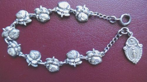 Antique Saints Rose Medal Charm Sterling Silver Rosary Bracelet Catholic W/ Box