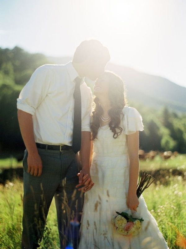 precious. like the simple groom's outfit too!Modest Wedding Dresses, Cute Dresses, Grey Outfit, A Kisses, Wedding Dresses Sleeve, Outside Wedding, Grooms Outfit, Wedding Pictures, Grooms Attire