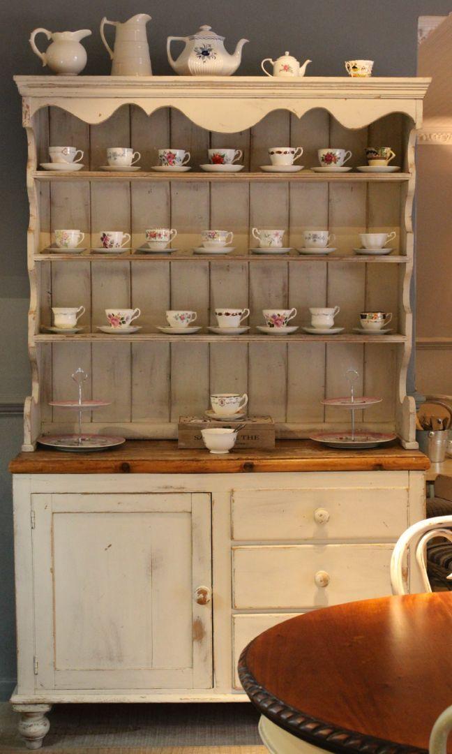 Vintage sideboard with china cups at Hattie's Baslow www.hattiesbaslow.co.uk