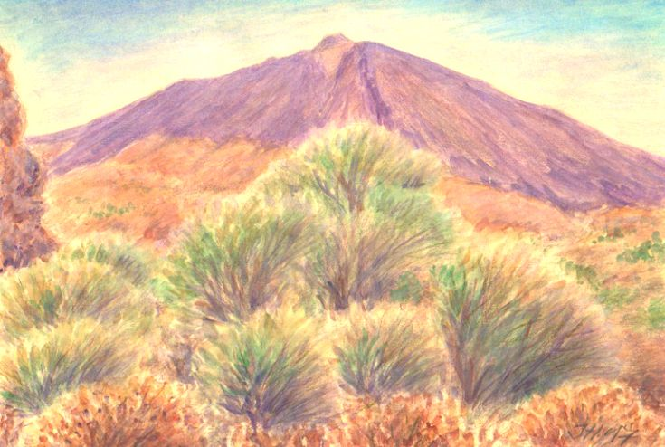 Pico del Teide, Tenerife, Canarian islands, watercolor and pastel by Jana Haasová