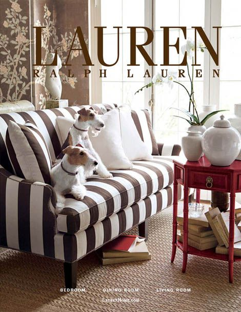 Ralph Lauren Home.love The Striped Sofa. Hate The Red Table With The Crap  On Top.