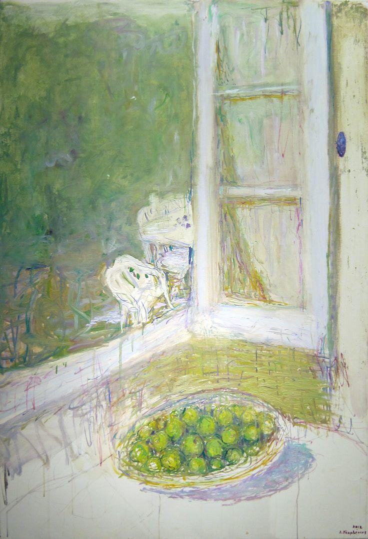 """Jacques Truphémus, """"La fenêtre de l'atelier des Cévennes"""", huile sur toile, 130 x 97 cm, 2012 cm."""