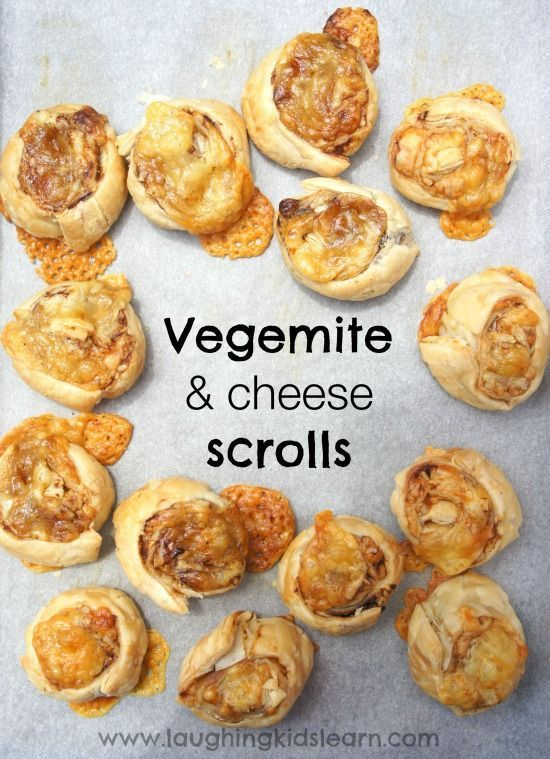 Vegemite and cheese scrolls are delicious and so easy to make. Great to enjoy at a party or over Australia Day. - Laughing Kids Learn