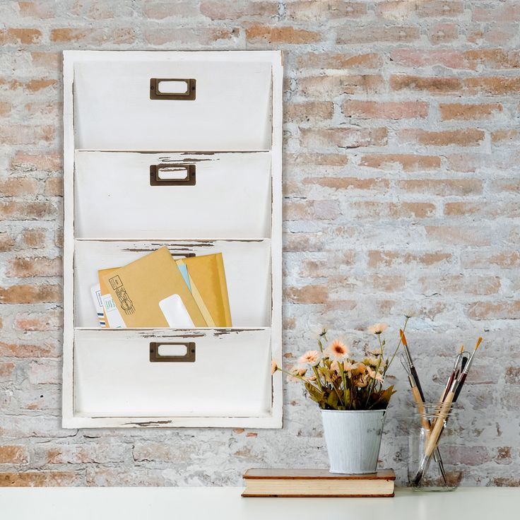 Gallery Solutions Distressed White Wall Mail Organizer