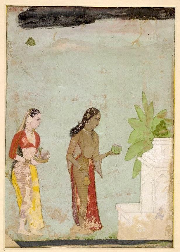 Two female devotees worshipping the tulsi plant, the most sacred plant in Hindusim. Associated with Vishnu. Pahari Guler 1750