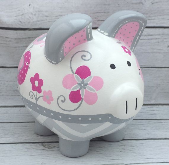 Personalized Piggy bank Artisan hand painted ceramic bank