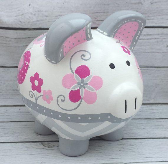 Alcancía personalizada artesanal Banco de cerámica pintado a