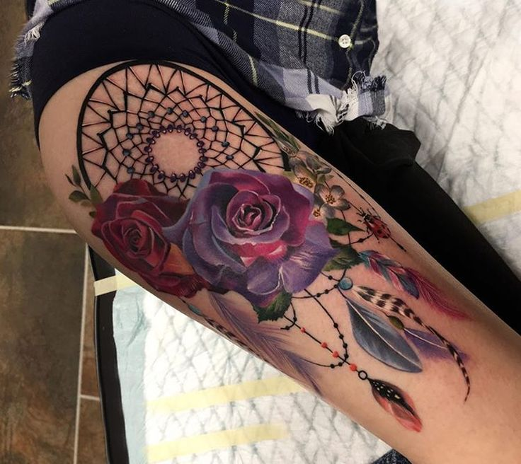 @_rostra_ 90 % already healed! Dream catcher . Зажившая на 90% ! Done with @worldfamousink and @fkirons. #tattoo #tattoolife #rostratattoo #realistictattoo #tattoomoscow #tattooartist #tattoorussia #tattoo_artwork #toptattooartist #thebesttattooartists @tattooistartmag @skinart_mag @botanicaltattoos #freshlyinked #inked #inkedmag @thebesttattooartists #rosetattoo #ловецсновтату #dreamcatcher #dreamcatchertattoo