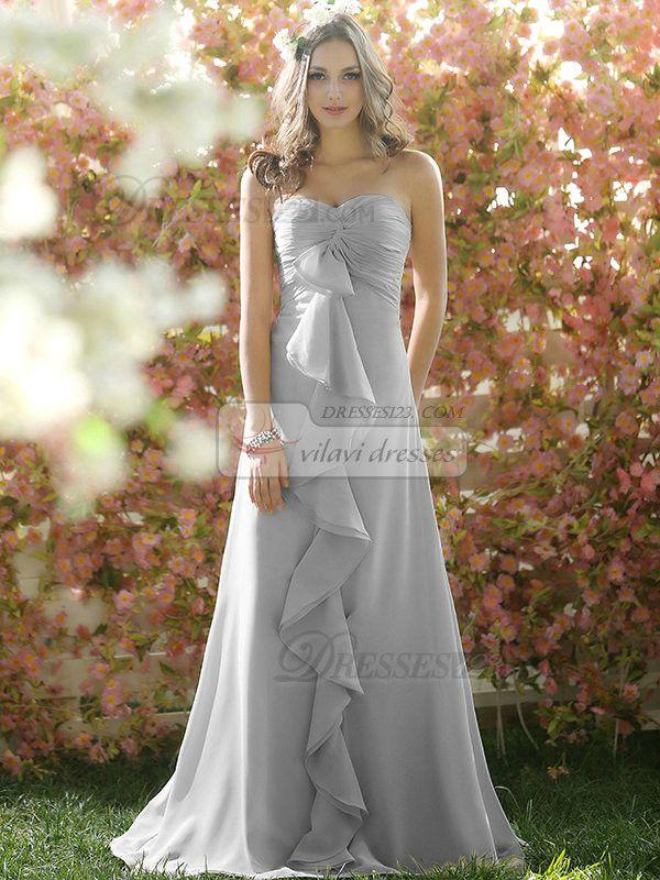Ruffles A-line Chiffon Sweetheart Floor-length Draped Silver Bridesmaid Dresses pink and grey!